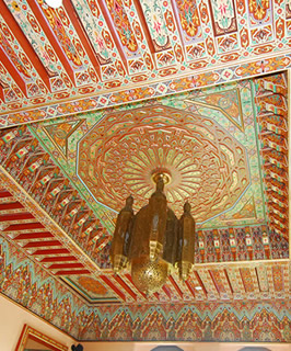 Moroccan carved and painted wood ceiling