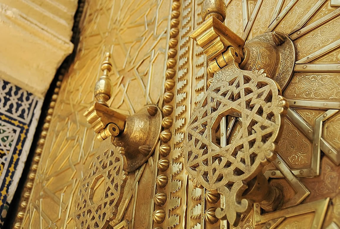 Moroccan Brass doors in Fez Palace