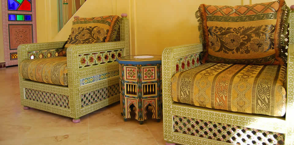 Moroccan Wood sofas and loveseats